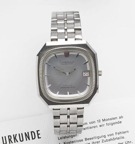 Omega. A stainless steel quartz calendar bracelet watchConstellation Megasonic 720Hz, Ref:198.0038, Movement No.34918747, Sold 29th June 1984