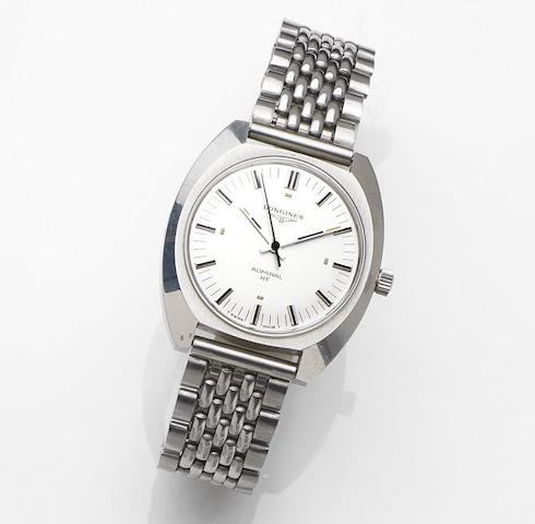 Longines. A stainless steel manual wind bracelet watchAdmiral HF Olympic Games Munich, Case No.16348627, Circa 1972