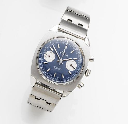 Dugena. A stainless steel manual wind chronograph bracelet watchCirca 1975