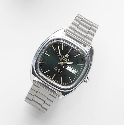 Tissot. A stainless steel automatic calendar bracelet watch Actualis Autolub, Circa 1975