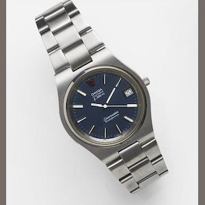 Omega. A stainless steel quartz calendar bracelet watch Seamaster Electronic f300Hz, Ref:198.0044, Movement No.35733967, Sold 25th May 1987