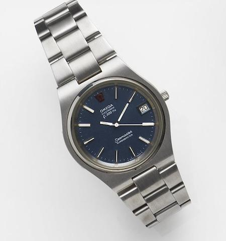 Omega. A stainless steel quartz calendar bracelet watchSeamaster Electronic f300Hz, Ref:198.0044, Movement No.35733967, Sold 25th May 1987