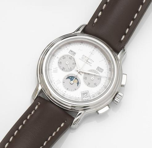Zenith. A stainless steel automatic annual calendar chronograph wristwatch with box and papers El Primero Chronomaster, Ref:02.0240.410/01, Movement No.167641, Circa 2001