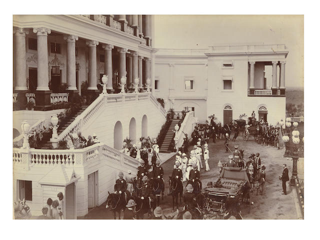 "HYDERABAD ""Souvenir of the Visit of T.R.H. the Prince and Princess of Wales to Hyderabad (Deccan)"", an album of approximately 69 images by Raja Deen Dayal,[1905-1906]"