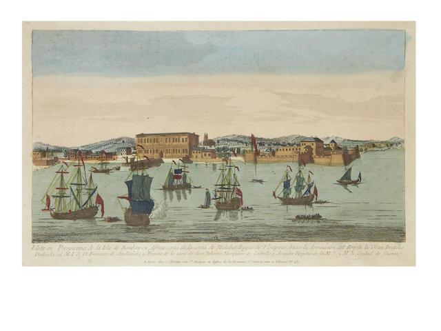 BOMBAY Vista en prespectiva de la Isla de Bombay en Africa, c.1765