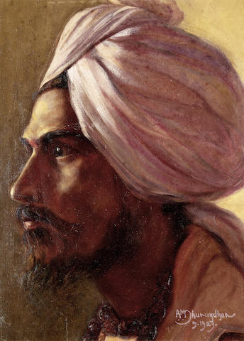 DHURANDHAR (AMBIKA) Portrait head of a male Sikh, 1929