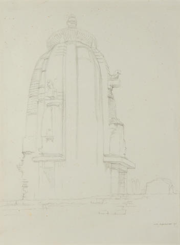 BHUBANESWAR, ORISSA Large sketch of an Indian Temple at Bhubaneswar by William Rothenstein, 1911