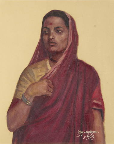 DHURANDHAR (AMBIKA) Portrait of a woman in red sari, 1929