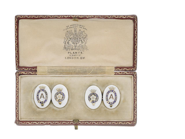 A pair of enamel cufflinks, (illustrated above)