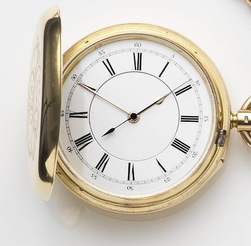Thomas Armstrong & Brothers, Manchester. An 18ct gold keyless wind centre seconds full hunter pocket watch with Kew Observatory certificatesMovement No.11943, London Hallmark for 1893