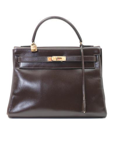 An Hermès dark brown box leather Kelly bag, 1960s