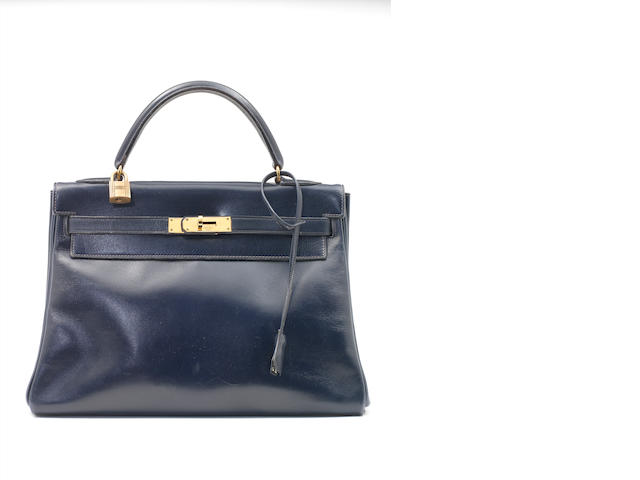 An Hermès navy box leather Kelly bag, 1960s