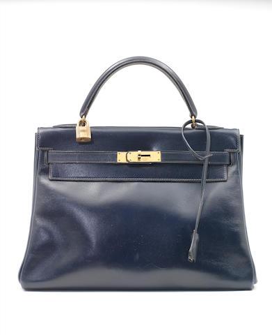 An Hermès navy box leather Kelly bag, 1960s