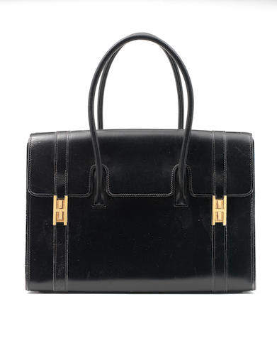 An Hermès black box leather Drag bag, 1960s