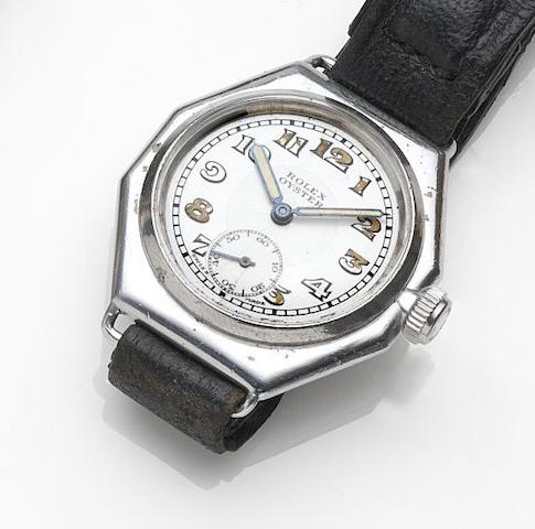Rolex. A nickel plated manual wind wristwatch Oyster, Case No.51676, Circa 1936
