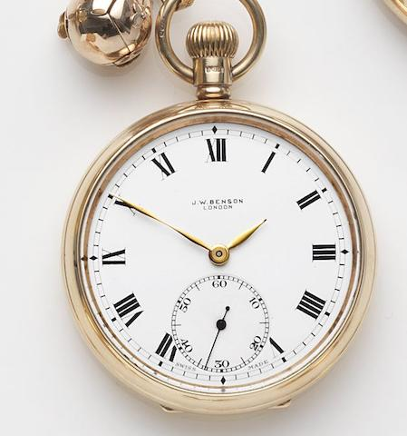 Benson. An 9ct gold keyless wind open face pocket watch with Albert chain and charmCase No.479772, Birmingham Hallmark for 1930