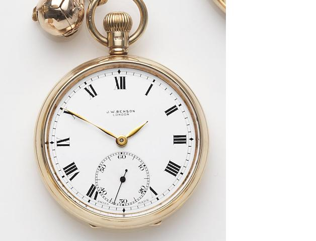 Benson. An 9ct gold keyless wind open face pocket watch with Albert chain and charm Case No.479772, Birmingham Hallmark for 1930