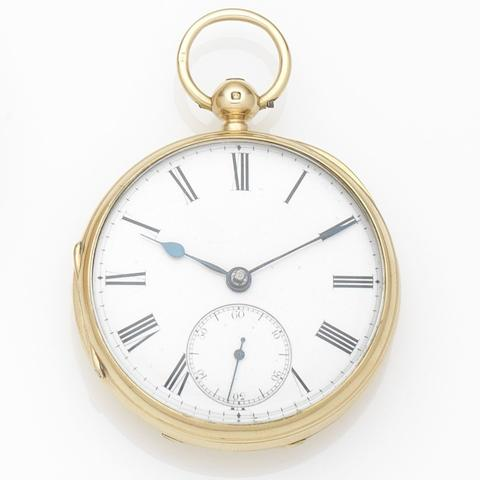 Unsigned. An 18ct gold key wind open face pocket watchCase and Movement No.4609, London Hallmark for 1877