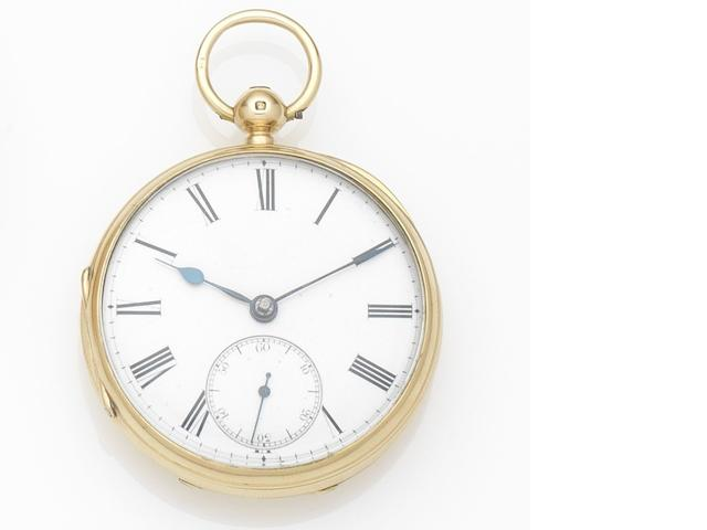 Unsigned. An 18ct gold key wind open face pocket watch Case and Movement No.4609, London Hallmark for 1877