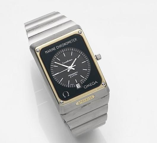 Omega. A stainless steel quartz calendar bracelet watch Constellation Marine Chronometer, Ref:198.0082, Movement No.37059135, Circa 1975