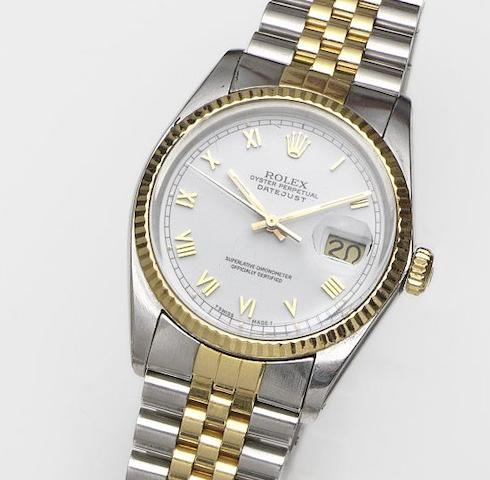 Rolex. A stainless steel and gold automatic calendar bracelet watch Datejust, Ref:16000, Case No.8248074, Movement No.1044839, Circa 1984
