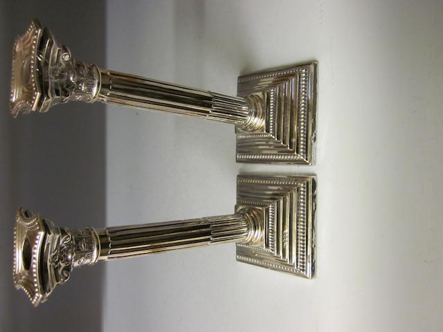 A pair of silver candlesticks,   Birmingham 1955,  (2)
