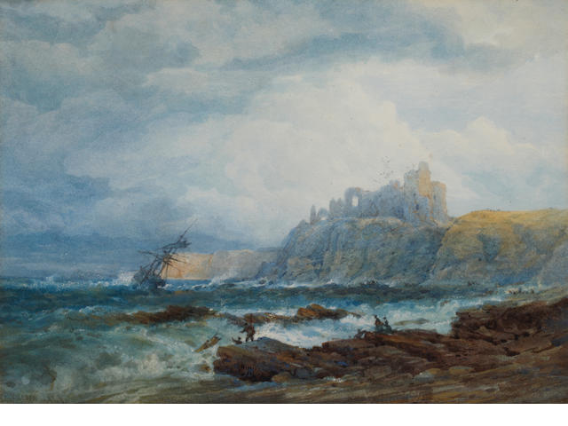 Edward Duncan, R.W.S. (British, 1803-1882) Shipwreck on rocks below Tantallon Castle