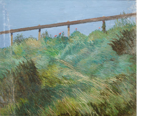 Christopher Sanders RA (British, 1905-1991) Grassy verge with wooden fencing