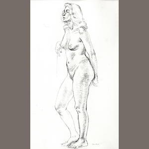 Christopher Sanders RA (British, 1905-1991) Study of a standing female nude. Together with four other female nude studies. (5)