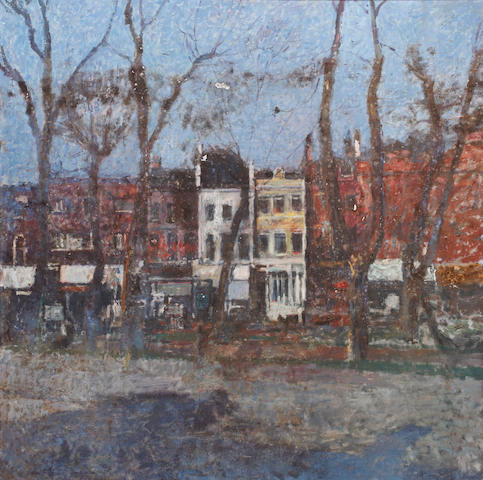 Christopher Sanders RA (British, 1905-1991) A high street, thought to be Finchley High Road