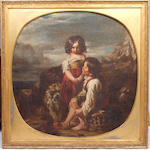 Circle of Thomas Faed, RA HRSA (British, 1826-1900) Children and dog on a mountain pass