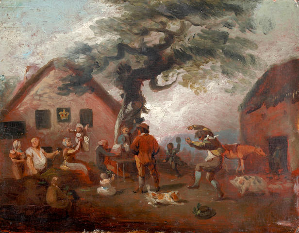 Circle of George Moreland Figures merrymaking before an inn