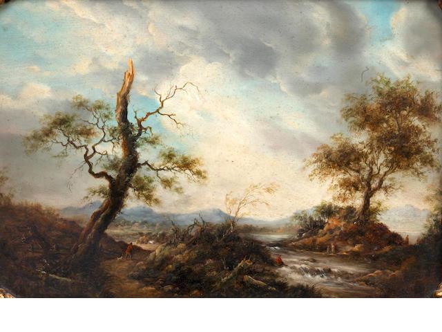 Follower of Barend Cornelis Koekkoek (Dutch, 1803-1862) Extensive landscape with figures