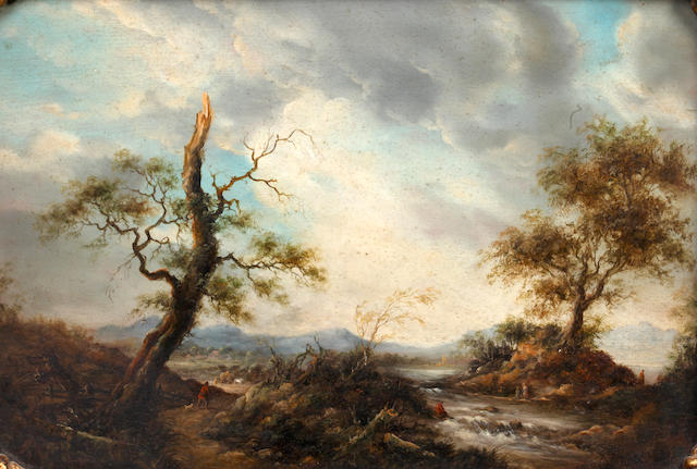 Follower of Barend Cornelis Koekkoek (Dutch, 1803-1862) Extensive landscape with figures