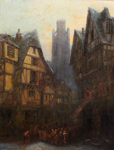 Sydney Herbert (British, 1854-1914) 'Rue Damiette, Rouen, St Ouen in background'