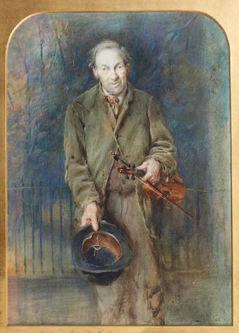 John Blair (British, 1850-1934) The street musician