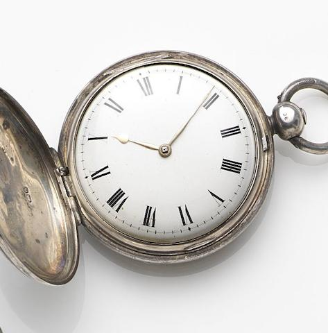Alexander Haswell, London. A silver key wind full hunter pocket watchMovement No.260, London Hallmark for 1789