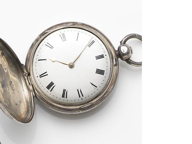 Alexander Haswell, London. A silver key wind full hunter pocket watch Movement No.260, London Hallmark for 1789