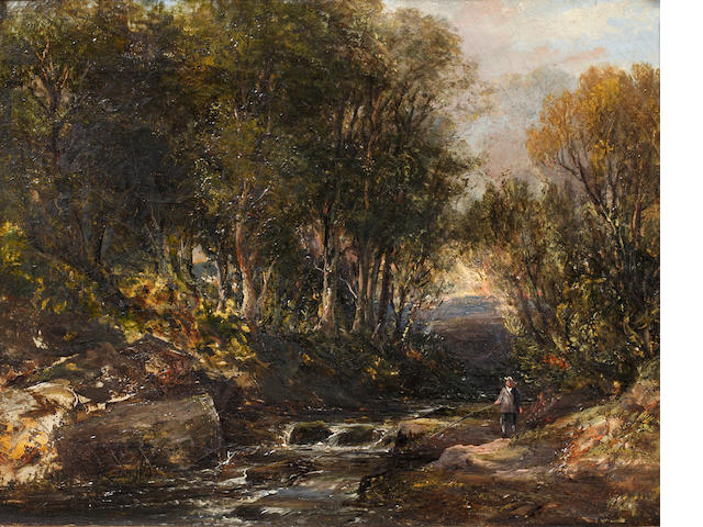 Circle of Patrick Nasmyth (Edinburgh 1787-1831 Lambeth) Woodland stream with angler