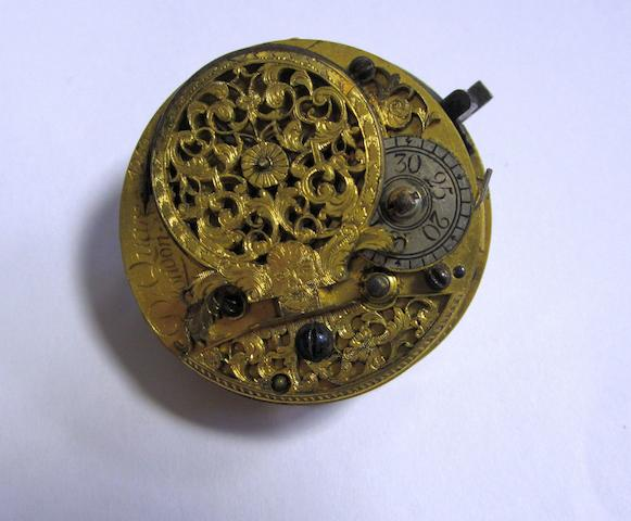 Daniel Quare. A gilt metal and horn key wind pair cased pocket watch (AF)Movement No.4252, Circa 1690