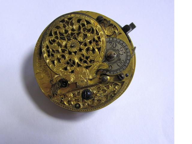 Daniel Quare. A gilt metal and horn key wind pair cased pocket watch (AF) Movement No.4252, Circa 1690