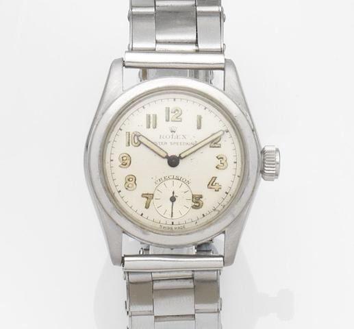 Rolex. A stainless steel manual wind bracelet watchOyster Speedking, Ref:2280, Case No.79895, Circa 1939