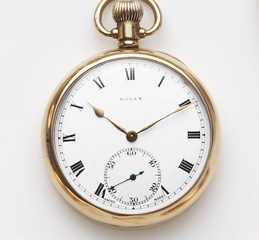 Rolex. A 9ct gold keyless wind open face pocket watch Case No.334034, Birmingham Hallmark for 1925