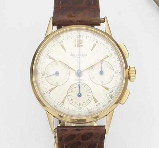 Universal. An 18ct gold manual wind chronograph wristwatch Compax, Ref:12514, Case No.1035620, Circa 1950