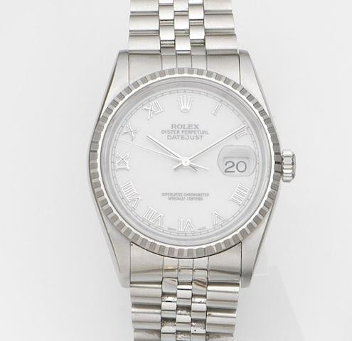 Rolex. A stainless steel automatic calendar bracelet watch with box and papersDatejust, Ref:16220, Case No.U906***, Movement No.7933***, Sold 19 February 1999