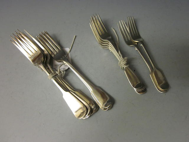 Six Victorian fiddle pattern table forks,  by James Round Sheffield 1897,