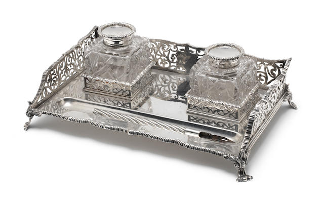 A Victorian  silver  desk inkstand by Turner Bradbury, London 1899