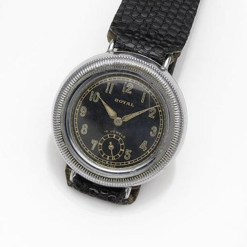 Royal. A chrome plated manual wind wristwatch Circa 1920