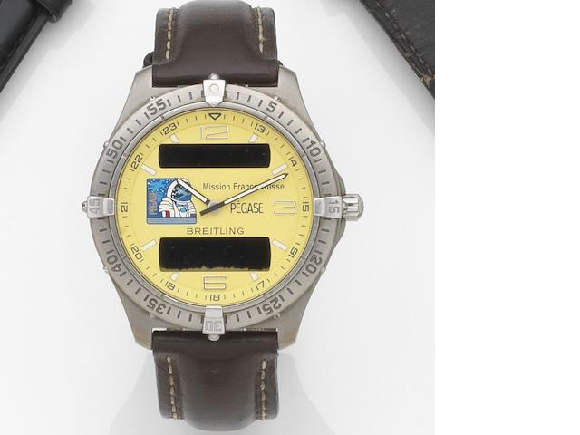 Breitling. A titanium quartz minute repeating chronograph wristwatch with digital display Aerospace Mission Franco-Russe, Ref:E65062, Case No.13620, Circa 1998
