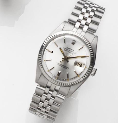 Rolex. A stainless steel automatic calendar bracelet watch Datejust, Ref:1601, Case No.290****, Movement No.D31****, Circa 1971